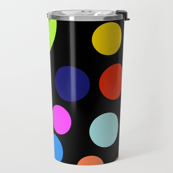 Circles on Black Travel Mug