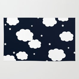 clouds and stars navy Rug