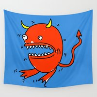 diablo Wall Tapestries featuring Huevo diablo by sitnuna