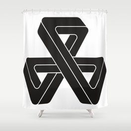 mobius triple strip - black Shower Curtain