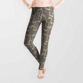 Dark Warm Gray Mid Century Geometric Pattern Leggings