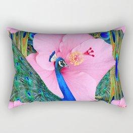 PINK HIBISCUS BLUE PEACOCK PATTERN ART Rectangular Pillow
