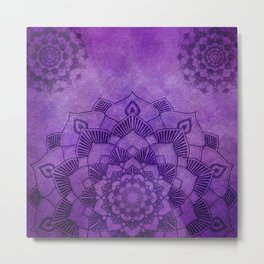 Deep Purple Lotus Mandala Metal Print
