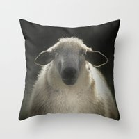 sheep Throw Pillows featuring Sheep by Monika Strigel