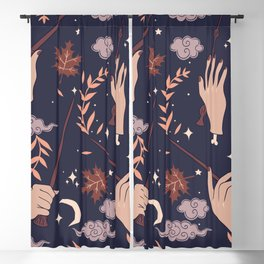Magic Wands for Witchcraft and Wizardry, and Mystic Leaves, Moons and Stars Blackout Curtain