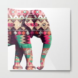 Whimsical Aztec Elephant Pink Turquoise Geometric Metal Print