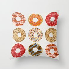 Half Dozen Donuts Throw Pillow