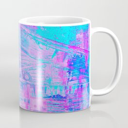 Totem Cabin Abstract - Hot Pink & Turquoise Coffee Mug