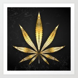 Gold Leaf Cannabis Art Print
