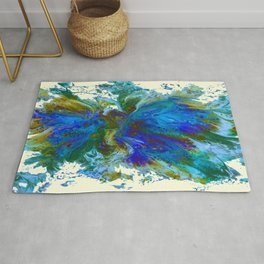 Butterflies are free in teal, blue, green and cream Rug