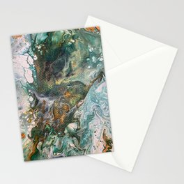 Orange. Green, Yellow, Gold and White Flower Power Stationery Cards