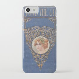Antique Book Cover * Literacy Art for book lovers * Beyond the City * blue gold  victorian iPhone Case