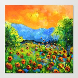 Red poppiesin Houyet Canvas Print
