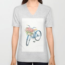Blue Bicycle with Flowers in Basket Unisex V-Neck