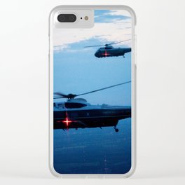 Support Helicopters Fly at Dusk Clear iPhone Case