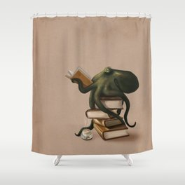 Well-Read Octopus Shower Curtain