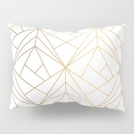 Geometric Gold Pattern With White Shimmer Pillow Sham