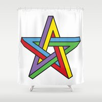 pentagram Shower Curtains featuring Impossible Pentagram by Stephen Kemmy Graphic Designer