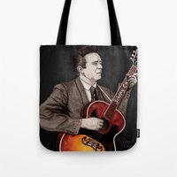 johnny cash Tote Bags featuring Johnny Cash by Daniel Cash
