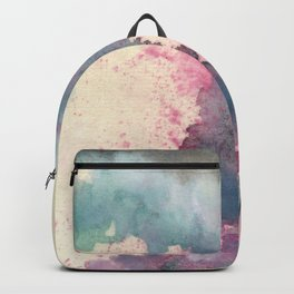 Cloud : gray, pink, magenta, aqua, and cream abstract ink painting Backpack
