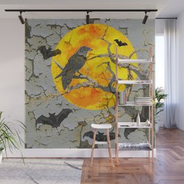 HALLOWEEN NIGHT BATS & RAVEN GOLDEN  MOON Wall Mural