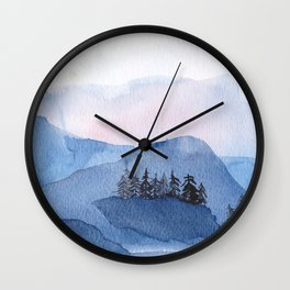 Blue Mountains in Watercolor Wall Clock