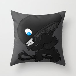 Alien Spaceship Xenomorph Comic Chibi Gift Throw Pillow