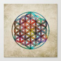 flower of life Canvas Prints featuring Flower of Life by Klara Acel