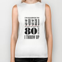sushi Biker Tanks featuring Sushi by paperchatshop