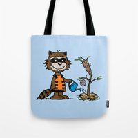 groot Tote Bags featuring Groot Grief! by Mike Handy Art