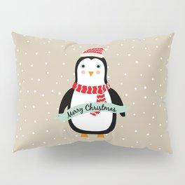 "Cute Penguin wishes ""Merry Christmas"" - X-mas Christmas Winter Design Pillow Sham"