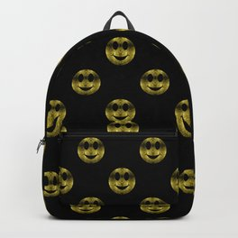 Sparkly Smiley Yellow Gold sparkles Backpack