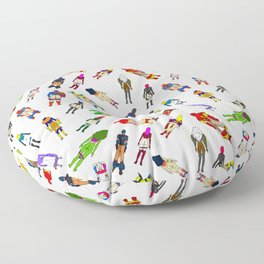Superhero Butts with Villians - Light Pattern Floor Pillow