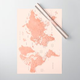 """Rose gold world map with cities, """"Hadi"""" Wrapping Paper"""