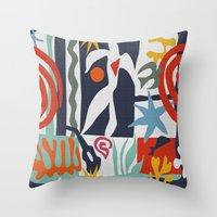 matisse Throw Pillows featuring Inspired to Matisse by Chicca Besso