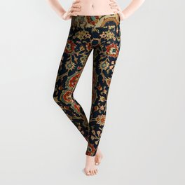 Central Persia 19th Century Authentic Colorful Dark Blue Red Tan Vintage Patterns Leggings