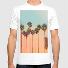Glitch beach SMALL White Mens Fitted Tee