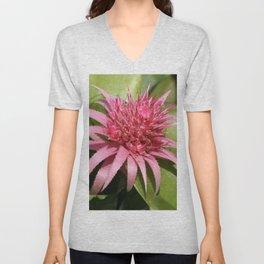 Pink Bromeliad Unisex V-Neck