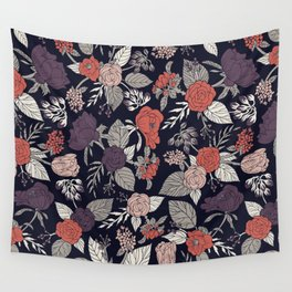 Purple, Gray, Navy Blue & Coral Floral/Botanical Pattern Wall Tapestry