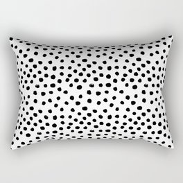 Preppy black and white dots minimal abstract brushstrokes painting illustration pattern print Rectangular Pillow
