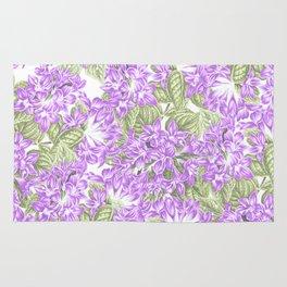 Botanical violet lavender green floral pattern Rug