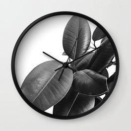 Ficus Elastica #23 #BlackAndWhite #foliage #decor #art #society6 Wall Clock
