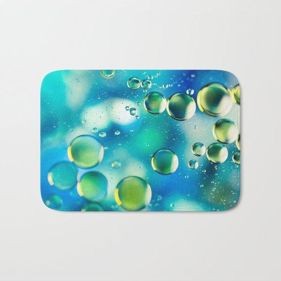 Macro Water Droplets  Aquamarine Soft Green Citron Lemon Yellow and Blue jewel tones Bath Mat