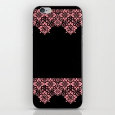 Retro .Vintage . Pink lace on a black background . iPhone & iPod Skin