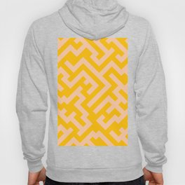 Deep Peach Orange and Amber Orange Diagonal Labyrinth Hoody
