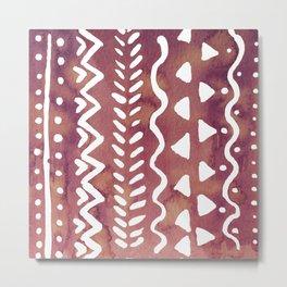 Loose boho chic pattern - purple brown Metal Print