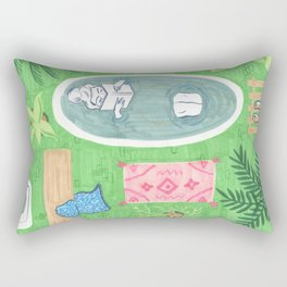 Green Tiled Bath drawing by Amanda Laurel Atkins Rectangular Pillow