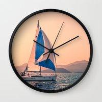 racing Wall Clocks featuring  Yacht racing by Svetlana Korneliuk