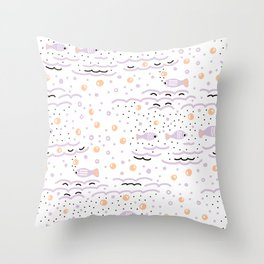 Little Lilac Fish in the Sea , Waves and Water with Tiny School of Fishes Pattern Throw Pillow