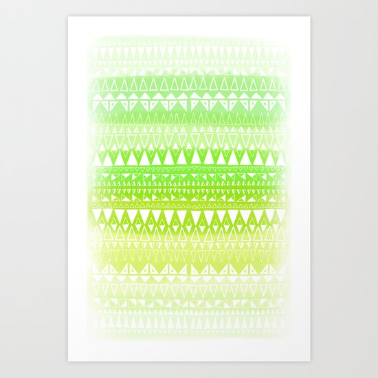 Triangle Gradient Lime Mix Art Print